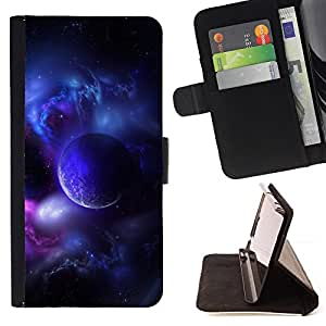 Purple Planet Universe Moon Galaxy Star Cloud - Painting Art Smile Face Style Design PU Leather Flip Stand Case Cover FOR Samsung Galaxy S4 IV I9500 @ The Smurfs
