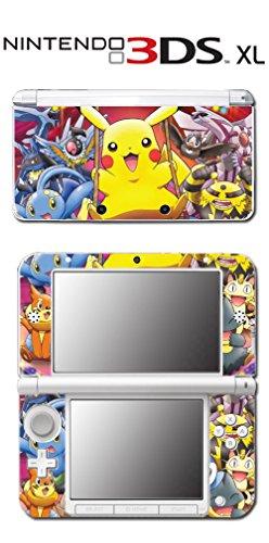 Pokemon Pikachu Starter Meowth Black White Video Game Vinyl Decal Skin Sticker Cover for Original Nintendo 3DS XL System
