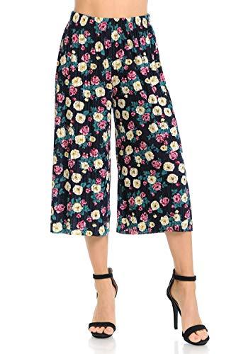 Auliné Collection Womens Pleated High Waist Wide Leg Cropped Capri Culotte Pants - Rose Garden Floral