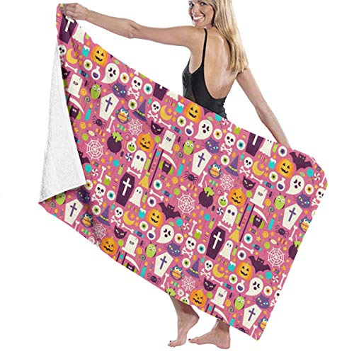 Bath Towels - Soft Washable Extra Large Towel Happy Halloween Party Patterns Luxury Bath Towels, Absorbent, Quick Dry for Sports, Travel, Swim, Hiking and Camping