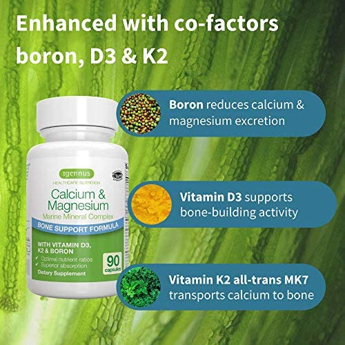 Calcium & Magnesium, 2:1 Plant Based Mineral Complex with Boron, Vitamin D3 & K2, High Absorption Bone Support Formula with Cofactors, Vegan, 90 Capsules, by Igennus 4