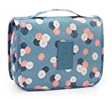 Portable Travel Makeup Cosmetic Bag - Waterproof Travel Hanging Organizer Bag for Women Girls, Blue Flowers- Are you a workaholic with frequent business trips?- Are you preparing a family vacation or romantic honeymoon?- Are you tired of organizing a...