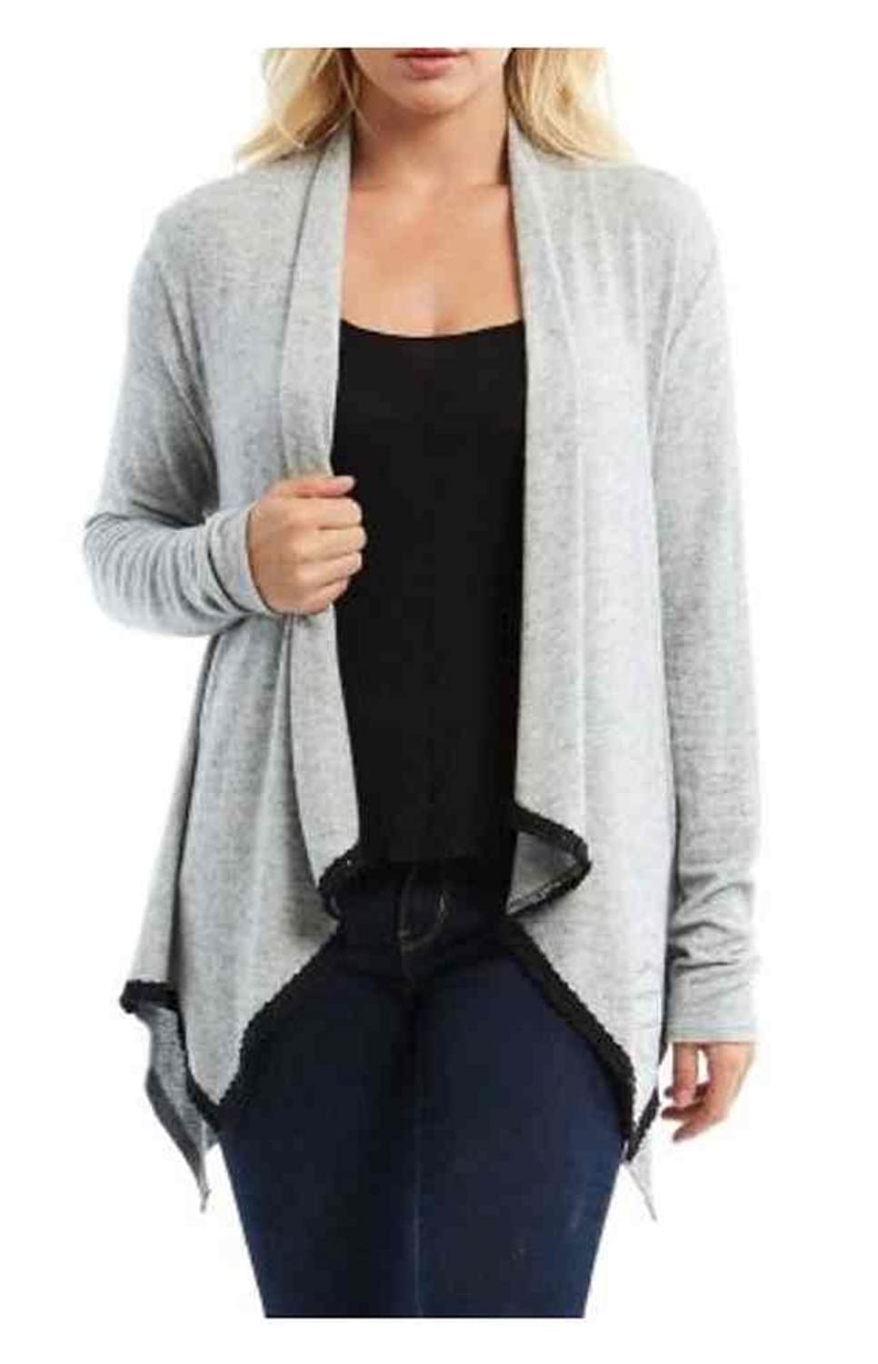 Harley-Davidson Women's In The Fall Long Sleeve Fringe Trim Cardigan, Gray