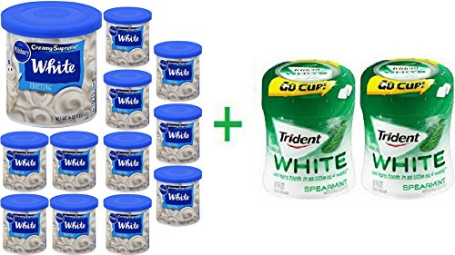 Pillsbury Creamy Supreme Classic White Frosting 16 oz (12 Pack) + 2 Trident Go Cup Spearmint 1/60 Count (Pillsbury Classic White Cake Mix)