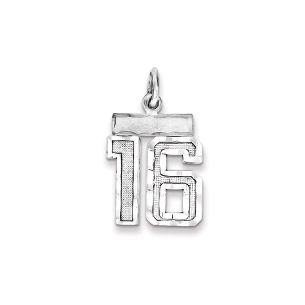 Black Bow Jewellery Company The Varsity klein Diamantschliff Sterling-Silber 925 Anhänger Nummer 16