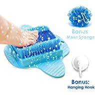 Product Choices Foot Scrubber   Foot Brush Bristles Deep Clean   Massage   Exfoliate & Stimulate Feet   Foot Spa Brush   Free Hook & Body Mesh Sponge   100% Recyclable & Perfect Gift   Premium Quality