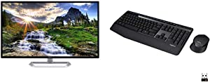 "Acer EB321HQU Cbidpx 31.5"" WQHD (2560 x 1440) IPS Monitor, Black & Logitech MK345 Wireless Combo Full-Sized Keyboard with Palm Rest and Comfortable Right-Handed Mouse - Black"
