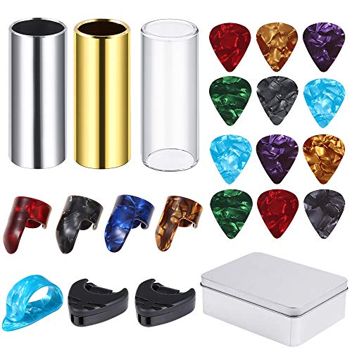 Auihiay 23 Pieces Guitar Slides Set Include 1 PCS Brass Slide, 1 PCS Glass Slide, 1 PCS Steel Slide, 12 PCS Guitar Picks, 5 PCS Thumb Finger Picks, 2 PCS Pick Holder and 1 PCS Metal Storage Box