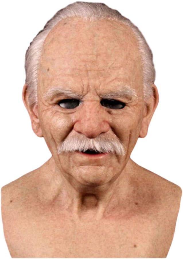 Máscara de Anciano Realista de Halloween, Máscara de Miedo de Halloween, Máscara de látex con Cabeza Completa Máscara de Arrugas humanas para Disfraces de Fiesta para Adultos, Apariencia Realista.