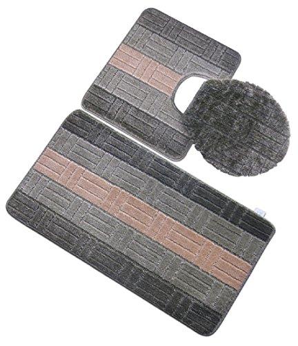 3 Piece Premium Polypropylene Bath Rugs Set With Embossed / Tiles design ((B) Sage) best