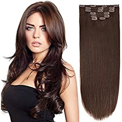 "18"" Clip in Extension Human Hair Clip Extensions Remy Hair Double Weft Dark Brown 2# 7pieces 105gram/3.7oz"