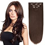 """18"""" Clip in Extension Human Hair Clip Extensions Remy Hair Double Weft Dark"""