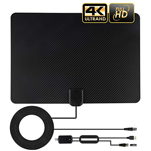TV Antenna Indoor, Amplified HD Digital TV Antenna Long 120-150 Miles Range, Support 4K 1080P Fire TV Stick and All Old TV for Local Channels, Smart Amplifier Signal Booster and 13 Ft Coax Cable