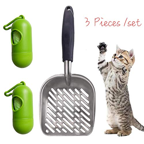 Lainrrew Cat Litter Scoop, Non-Stick Sifter Shovel with Non-Slip & Comfortable Long Handle Kitten Poop Sifter, Bonus 2…