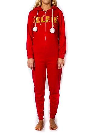 738608aa23 Amazon.com  Women s Red Elf Christmas Onesie (Large)  Clothing