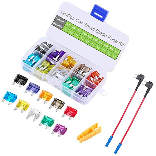 - 12V 2 Pack Add a Circuit Fuse Adapter with 120pcs Small Car Blade Fuses 2A 3A 5A 7.5A 10A 15A 20A 25A 30A 35A, OUHL Car Boat Truck SUV Automotive Replacement Fuses Holders Kit, Puller Included