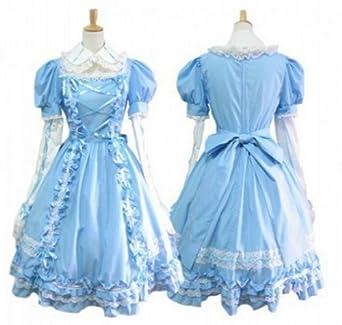 fba7f37c9 ゴスロリィタ Lolita ロリータ服 衣装 洋服 COSMAMA LLTLZY0046 ブルー 袖の取り外しが可能 長袖・