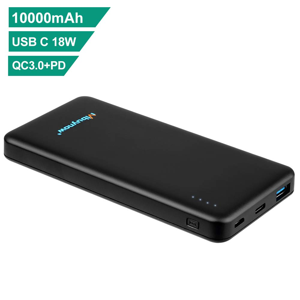 Mbuynow Power Bank 10000mAh, USB C External Akku Quick Charge 3.0 Technologie Tragbares Ladegerät mit Type C und Micro USB Ausgang High Speed mit Max 5V/2.4A für iPhone 7/iPad Air/Huawei P9/Galaxy S7