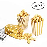 36 Popcorn Boxes Gold Stamping Trio Polka Dot, Chevron, and Striped Assorted Designs - Movie Theater Night, Festivals, Wedding Favors