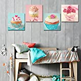 Cupcake Kitchen Decor Shuaxin Modern Home Decor Kitchen Wall Art Delicious Cup Cake Paintings on Canvas Home Decor Wall Decals 12*12 X4pcs Framed with Box