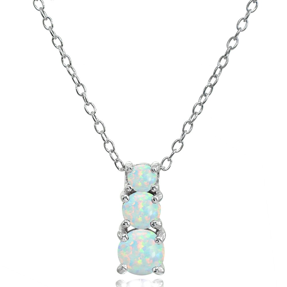 Sterling Silver Simulated White Opal Round Graduating Three Stone Pendant Necklace