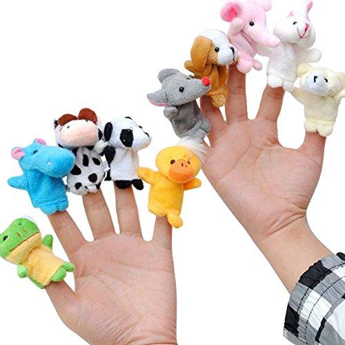 10 Cartoon Animal Finger Puppet Plush Toys - 4