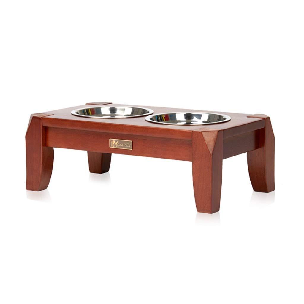 Onnear Elevated Pet Bowl,Rubber Wood Timber Feeding Stations,Feeder and Water 2 in 1,Stainless Steel Pet Feeder,for Dogs Cats and Pets,Four Sizes are Available (Size : S)
