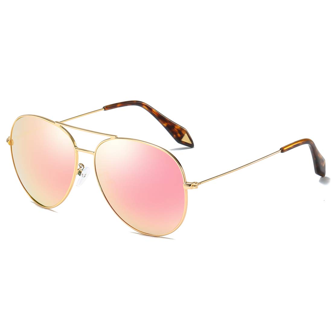 119948ad34a8 Amazon.com: COASION Oversized Polarized Aviator Sunglasses for Women  Mirrored Lens Lightweight Metal Frame - 100% UV Protection (Gold Frame/Pink  Mirror ...