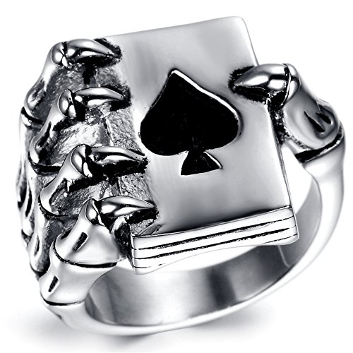JAJAFOOK Men's Punk Gothic Skull Hand Claw Poker Playing Card Black Silver Stainless Steel Ring - Playing Cards Ring