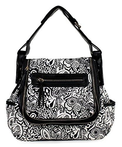 Buddha Black Handbag (Scarleton Fashionable Floral Bag H175801 - Black)