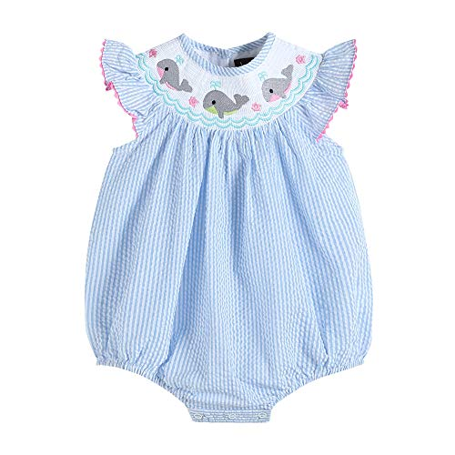 - Lil Cactus 33113011092 Romper with Flutter Sleeve & Blue Whale