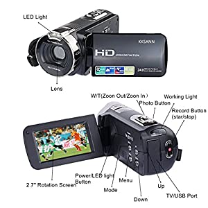Camera Camcorders, KKSANN 24MP 16X Digital Zoom Video Camcorder 2.7inch TFT LCD and 270 Degree Rotation Screen