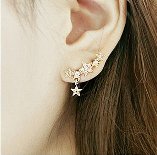 - New Arrival Korean Style Womens Shiny Crystal Rhinestone Little Star Earrings Ear Studs (Gold Three)