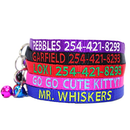 Go Go Cute Puppy Personalized Embroidered Nylon Cat Collar Break Away With Bell - Custom Text With Pet Name and Phone Number - Multiple Thread Colors and Sizes by Go Go Cute Puppy