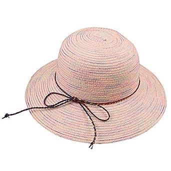 125b229cf69 Demana Women Sun Hat Narrow Brim Rainbow Striped Ribbon Braid Cap Beach Hat  Straw Bucket Hat