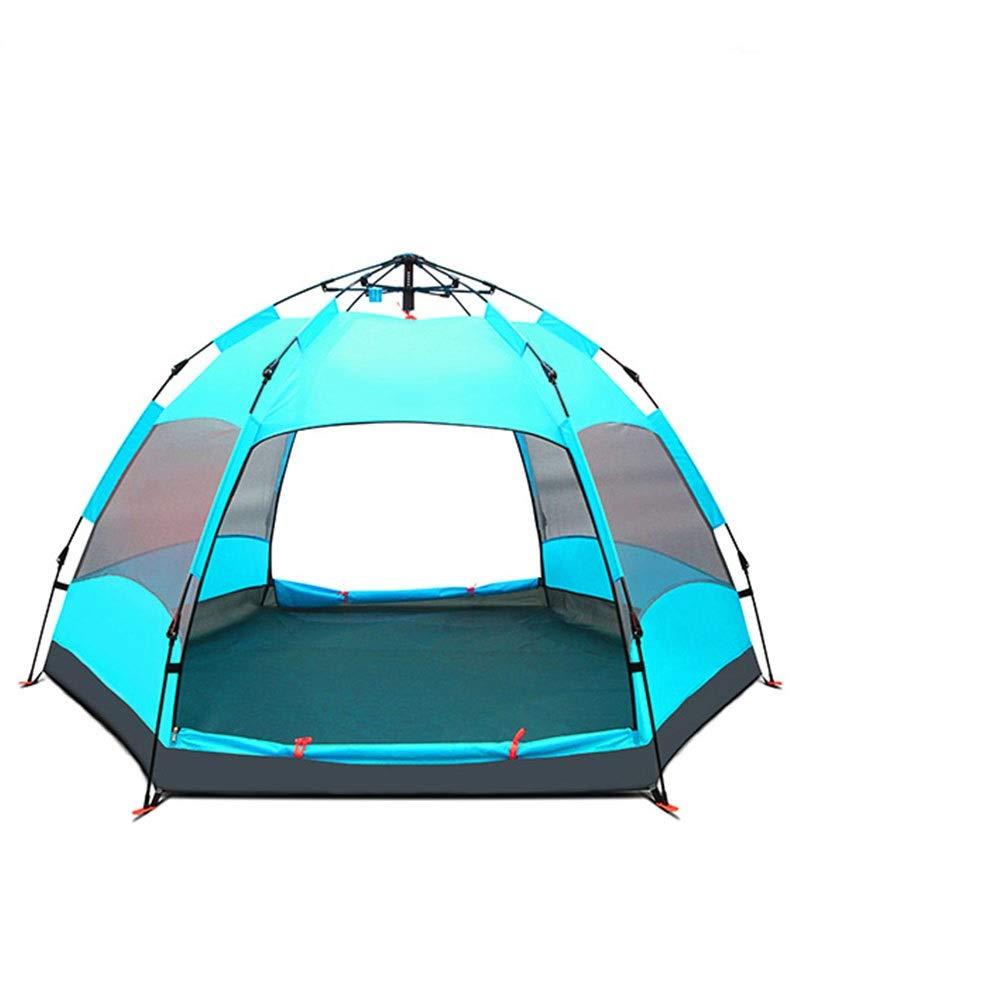 ZR テント自動屋外肥厚雨4-8人シングルキャンプダブルテント四季テントブルーグリーンイエロー (色 : 緑)  緑 B07P8P6MQN