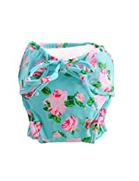 [Flowers] Adjustable Infant Swim Diaper with Ties, Size Medium