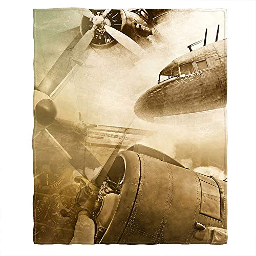 Moslion Soft Cozy Throw Blanket Vintage Airplane Bomber World War Fuzzy Couch/Bed Blanket for Adult/Youth Polyester 40 x 50 Inches(Home/Travel/Camping Applicable)
