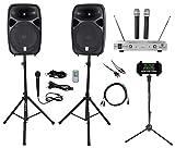Rockville Dual 15' iphone/ipad/Android/Laptop/Tablet Pro Karaoke Machine/System
