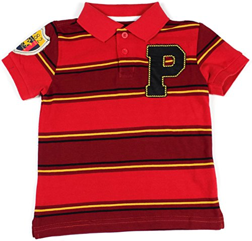Beverly Hills Polo Club Striped Polo (2T, Collegiate Red) (Collegiate Polo Striped)