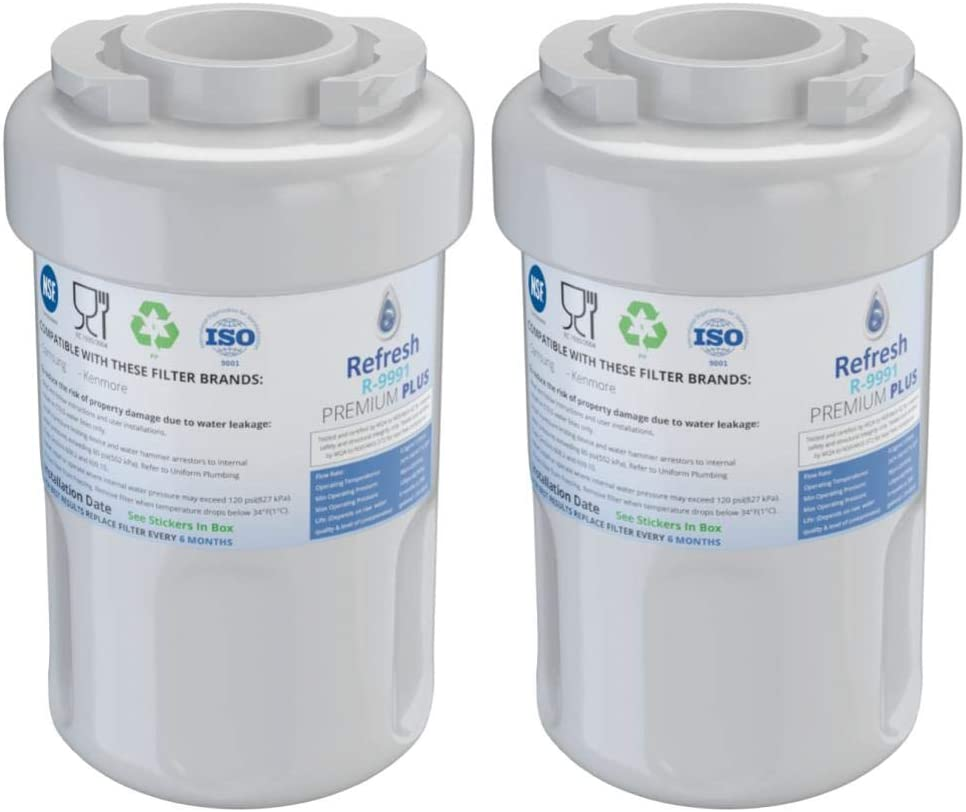 Refresh NSF-53 Premium Replacement Refrigerator Water Filter Compatible with GE Smartwater MWF GWF, MWFP, MWFA and Kenmore 46-9991, 469991, 9991 Refrigerator Water Filter (2 Pack)