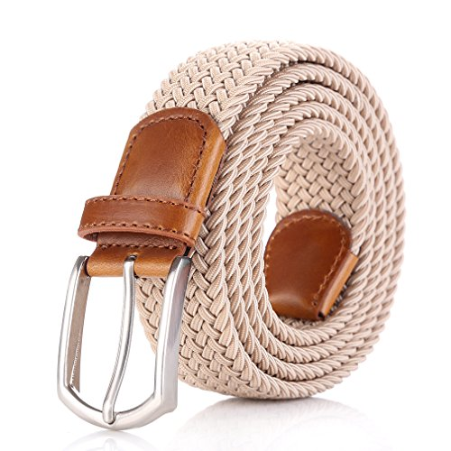 Plus Size Belt (Weifert Elastic Braided Belt Big & Tall Available Stretch Woven Belts (XXL(46-48), Khaki))