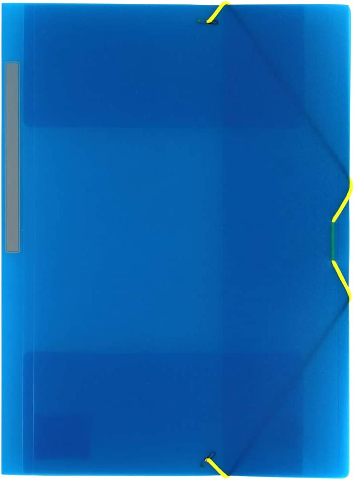 Grafoplás 04801230-Carpeta 3 solapas de Polipropileno con gomas, color azul, tamaño Folio