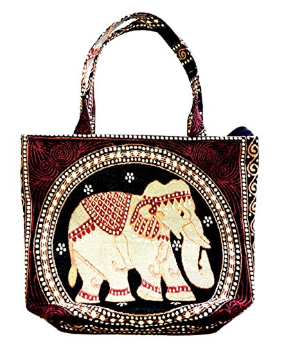 Bag by WP Embroidery Elephant Zipper Bag Handbag Tolebag Shopping Bag Handmade for Women, Brawn - Bvlgari Bag Black