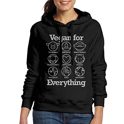 Vegan For Everything Women Classic Pullover Print Hoodie Hooded Sweatshirt With Drawstring (Classic Drawstring Pullover)