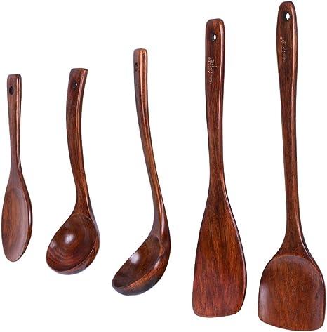 Jy Wooden Kitchen Utensils Set Natural Wood Non Stick Wooden Scoop And Wooden Spoon High Temperature Resistant Household Cooking Utensils 5 Piece Set Amazon De Kuche Haushalt