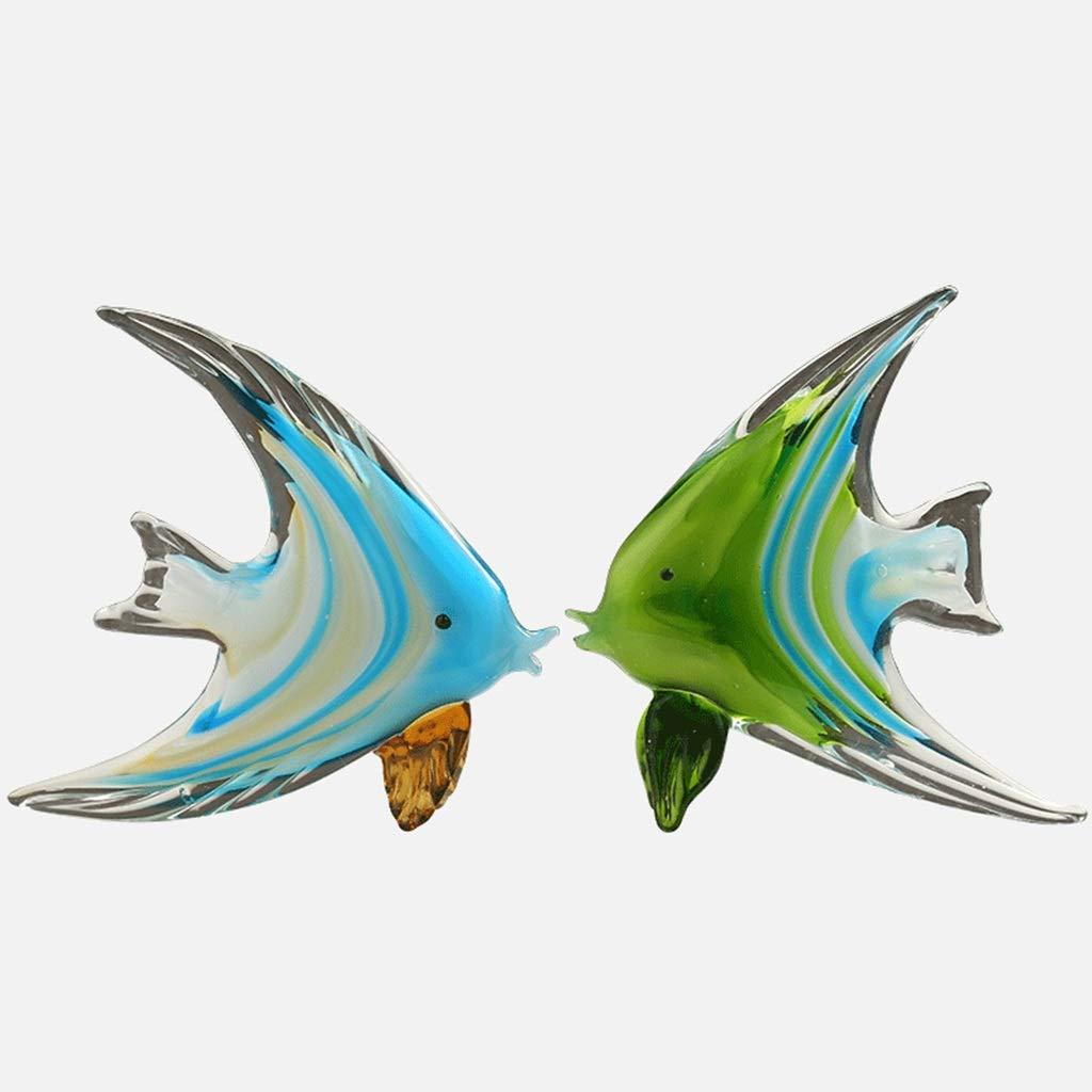 装飾材料 スタジオクリスタルガラスの熱帯魚の飾り結婚式のギフト屋内勉強部屋モデルポーチ幸運の装飾 (Color : Blue green, Size : 20*20cm) 20*20cm Blue green B07K24N5KB