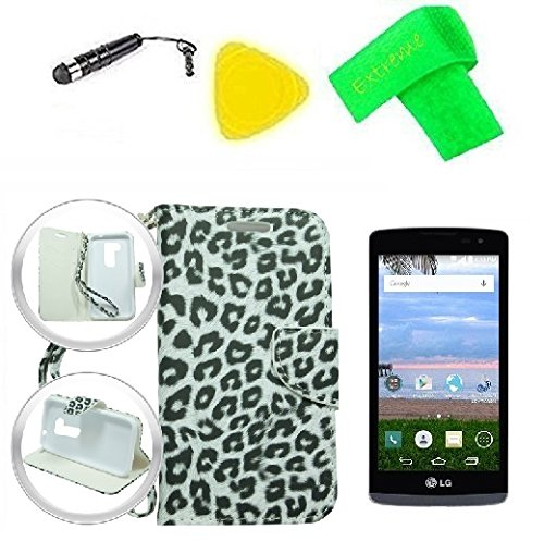 Wallet Flip Pouch Phone Cover Case + Screen Protector + Band + Stylus Pen + Pry Tool For Straight Talk Tracfone NET10 LG Destiny L21G / Sunset L33L LG-L33L / Power L22C (Wallet White Black Leopard)