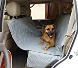 Deluxe Dog Car Seat Hammock Quilted Cover with Non-Slip Backing Best for Cars Trucks and SUVs Make Travel With Your Pet Always an Option – 56″W x 60″L, GREY