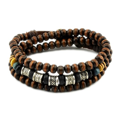 MORE FUN Tribal Art Metal Tube Wood Beads Adjustable Fashion Handmade Multi Wrap Bracelet